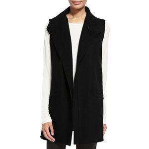 Eileen Fisher Icon Black Wool Vest Long Medium